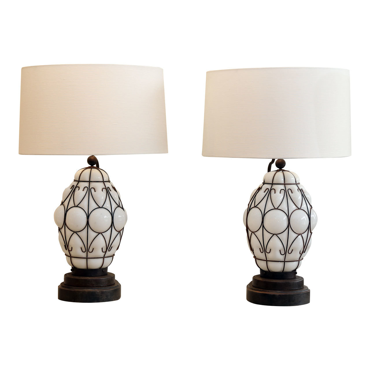 Pair of vintage italian caged glass lanterns as custom table lamps skelton culver geotapseo Gallery