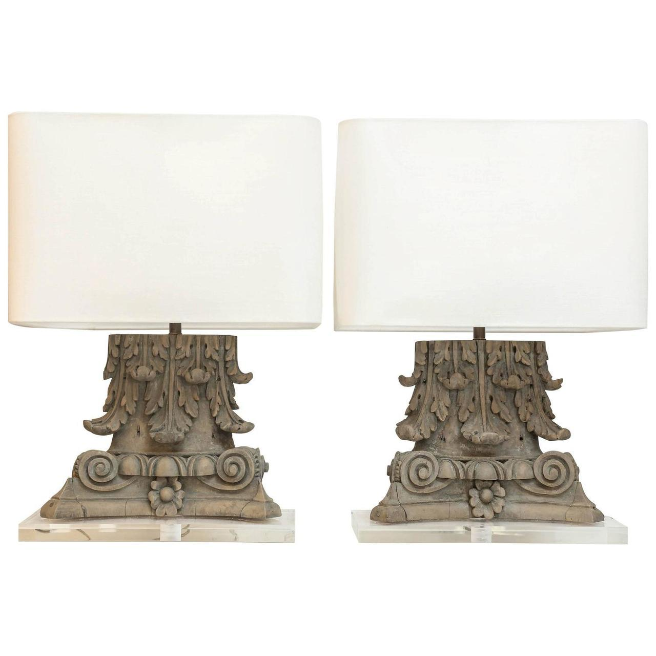 Pair of carved italian capitals as custom table lamps skelton culver skelton culver geotapseo Gallery